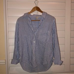 Forever21 Striped Long Sleeve Blouse